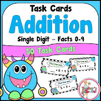 Addition task cards using single digits