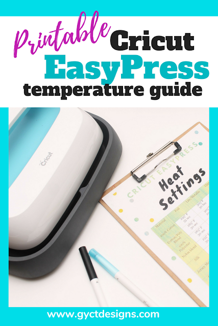 Looking at getting the new Cricut EasyPress for your crafting projects?  This temperature guide is perfect to use as a reference when using heat transfer vinyl on materials like fabric, wood, canvas, and paper.