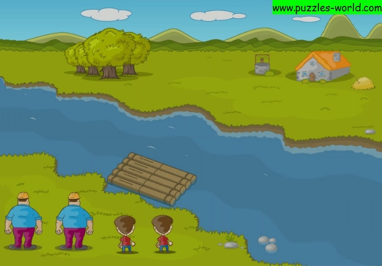 River Crossing - Two Workers and two children puzzle