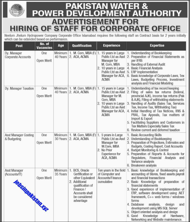Advertisement for WAPDA Jobs December 2018 Page No. 1/2