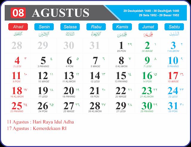 Download Kalender Jawa dan Hijriyah 2019 Full HD format JPG, PNG dan GIF