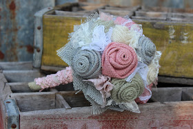 rustic burlap bridesmaid flowers