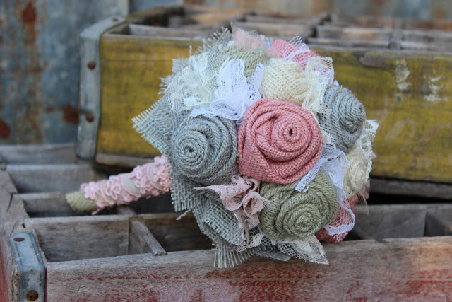 rustic burlap bridesmaid flowers