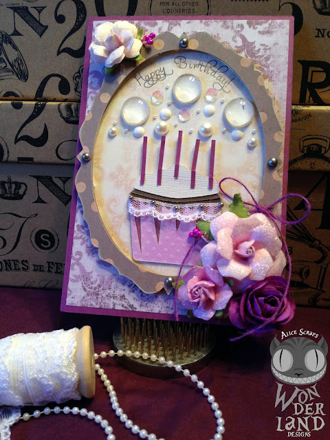 Birthday card, cupcake, handmade, scrapbooking, paper crafts, flowers, lace, pearls, vintage