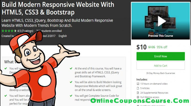 [95% Off] Build Modern Responsive Website With HTML5, CSS3 & Bootstrap| Worth 195$