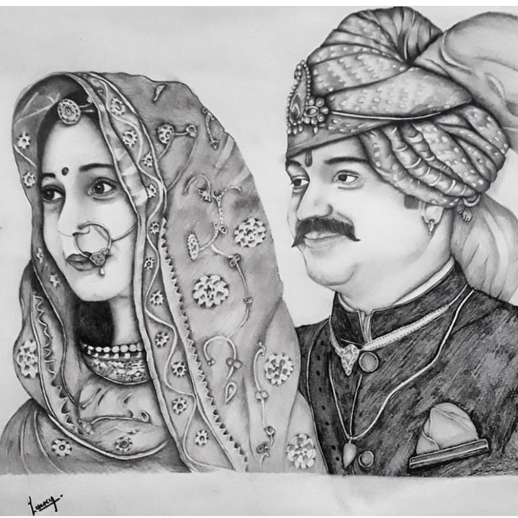 Couple traditional pencil sketch lky sketch