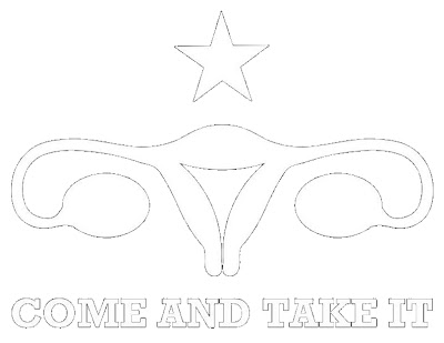 "uterus with a star above it and the text ""Come and Take It'"