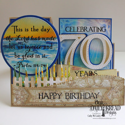 Our Daily Bread Designs Stamp Set: Celebration, Custom Dies: Side Step Card, Large Numbers, Pierced Circles, Circles, Layered Lacey Squares, Fence, Grass Border, Leafy Edged Borders, Pennant Flags, Paper Collection: By the Shore Paper