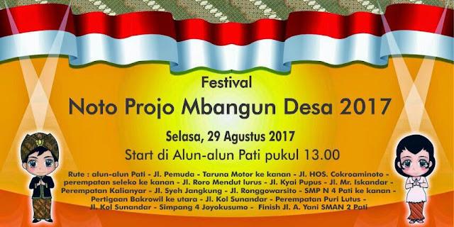 Festival Noto Projo Mbangun Desa, Digelar Selasa 29 Agustus 2017
