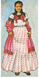 54ed075449 El traje típico la mujer usa blusa blanca bordada con hilo de seda formando  el escudo de Campeche