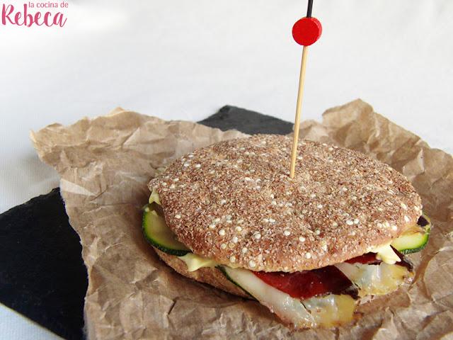 Sandwich de jamón de pato y calabacín