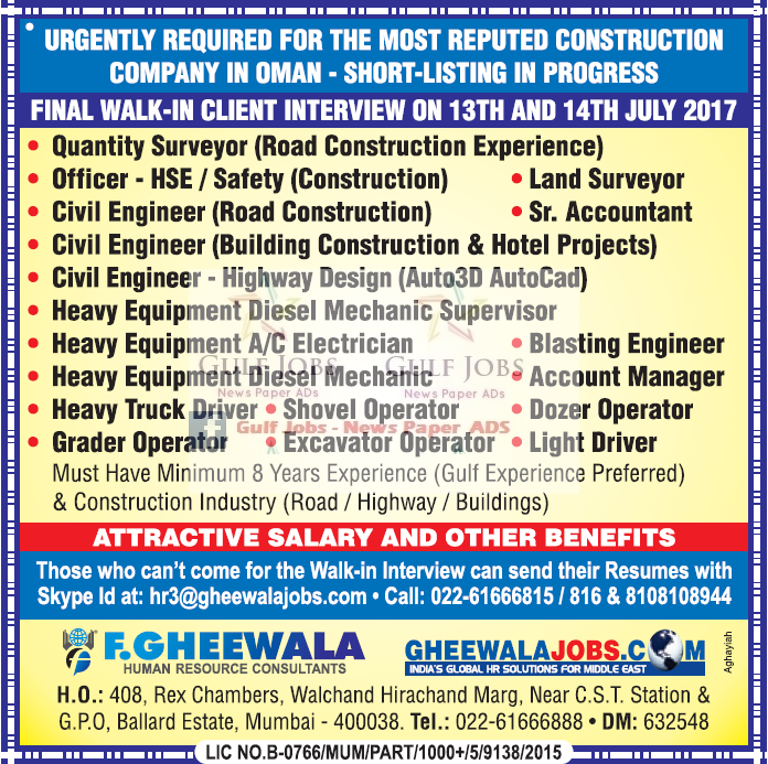 reputed construction co jobs for oman