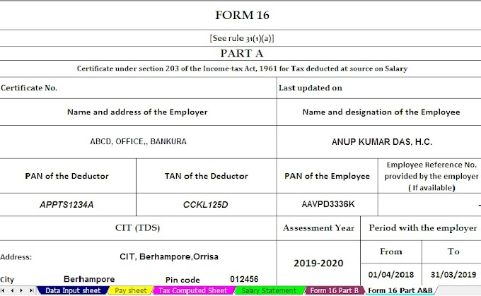 Free Download Automated Income Tax Form 16 Part A&B for 50 Employees for F.Y. 2018-19