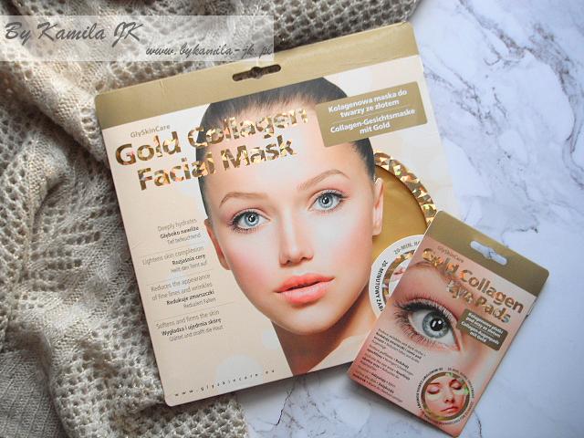 GlySkinCare Gold Collagen maska do twarzy płatki pod oczy ze złotem