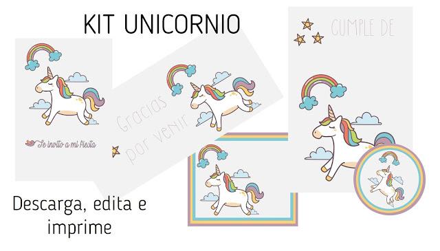 imprimibles, gratis, cumpleaños, unicornio, descargas