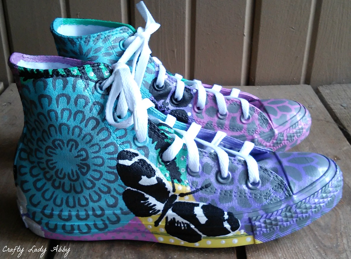 4f82470cde6a SHOE DIY  Painted Spring Mums Stencil1 Sneakers