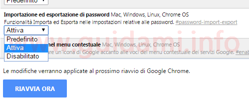 Chrome Flags attivare Esporta e Importa password
