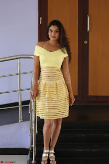 Shipra gaur in V Neck short Yellow Dress ~  036.JPG