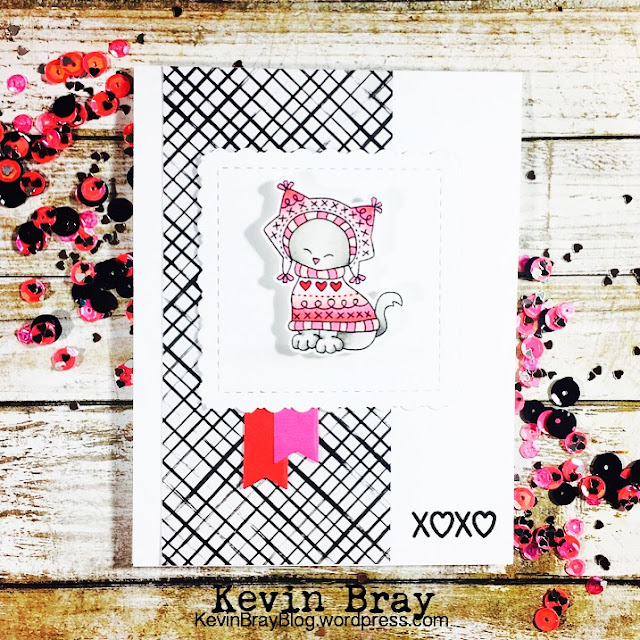 Pink and Black Card featuring Sweater Weather by Newton's Nook Designs, #newtonsnook