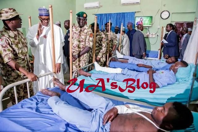 Boko Haram: Buhari visits injured soldiers in Borno [PHOTOS]