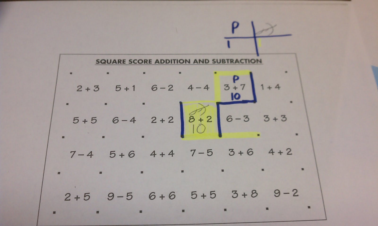 Hands On Math Playing Squares With Addition
