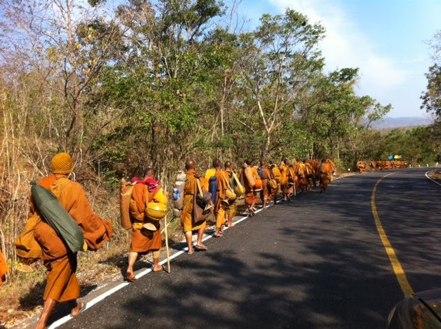 Monks walking - Thailand
