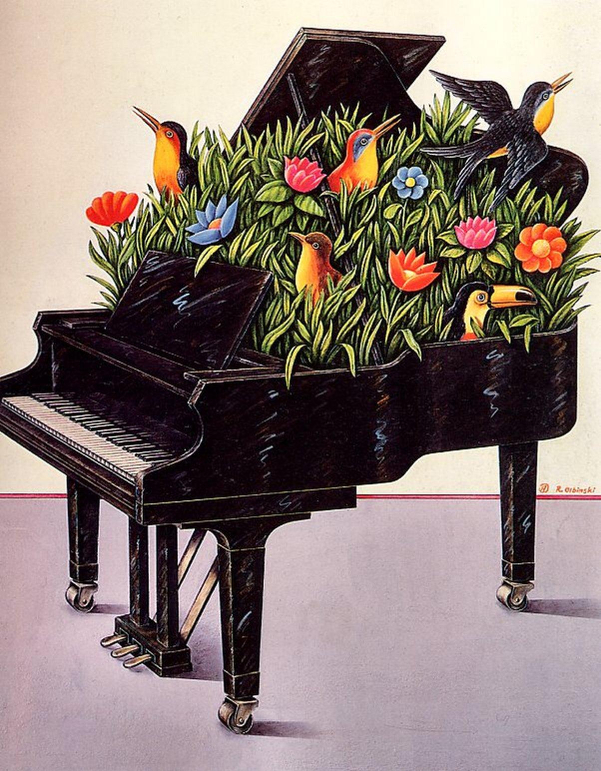 Открытки день, открытки с фортепиано и цветами