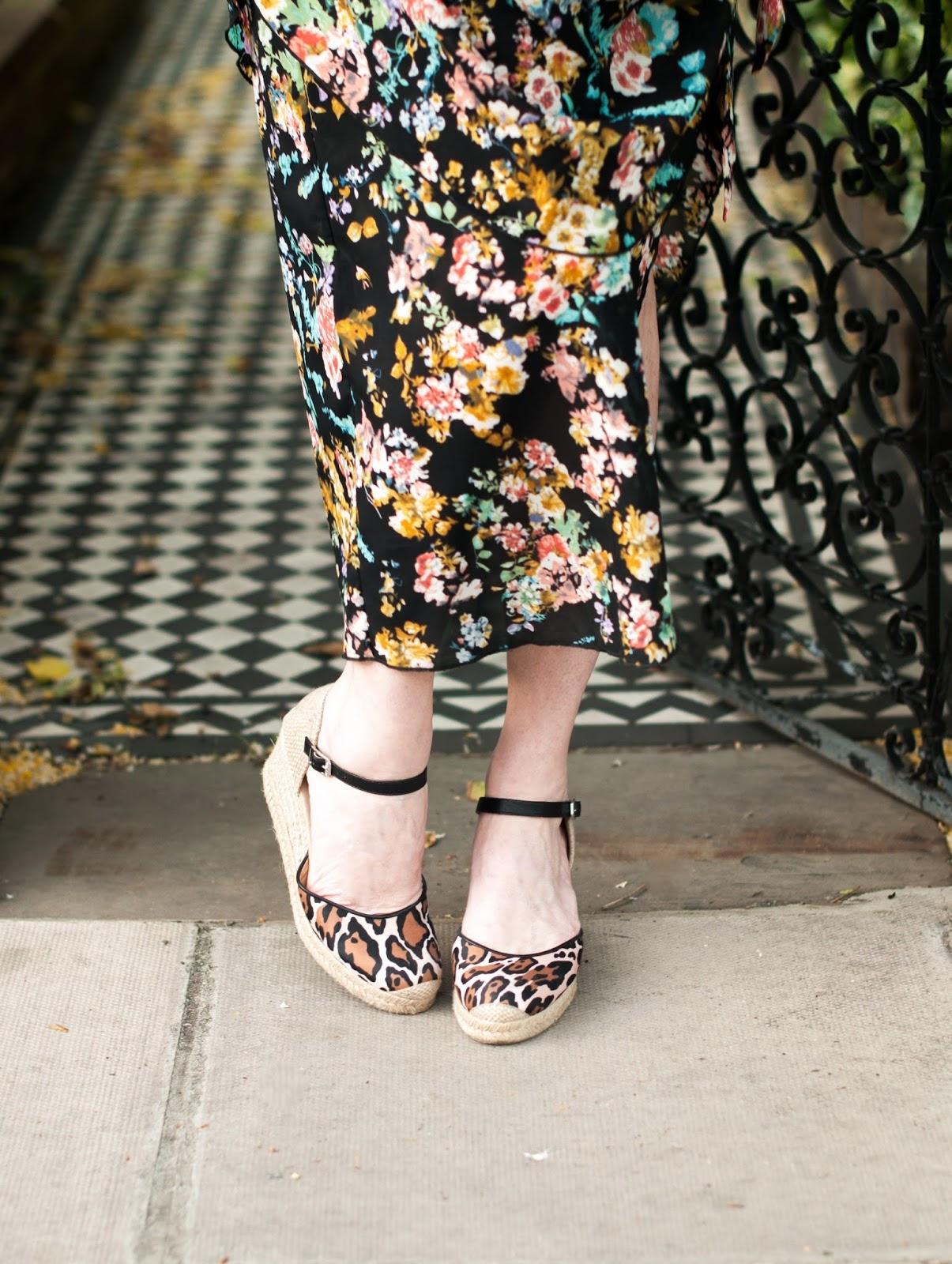 Floral draped vintage style dress with leopard print wedge espadrilles, over 40 style