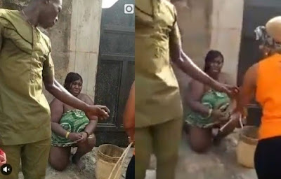Cheating woman caught and flogged