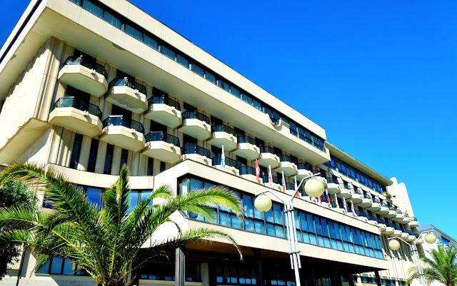 terme, cielo, balconi, finestre, sole, palme, hotel, spa