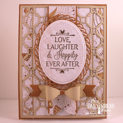 Our Daily Bread Designs Stamp Set: Happily Ever After, Paper Collection: Wedding Wishes, Custom Dies: Pierced Rectangles, Pierced Ovals, Layered Lacey Ovals, Ovals, Scalloped Chain, Pennant Flags, Small Bow, Layering Hearts