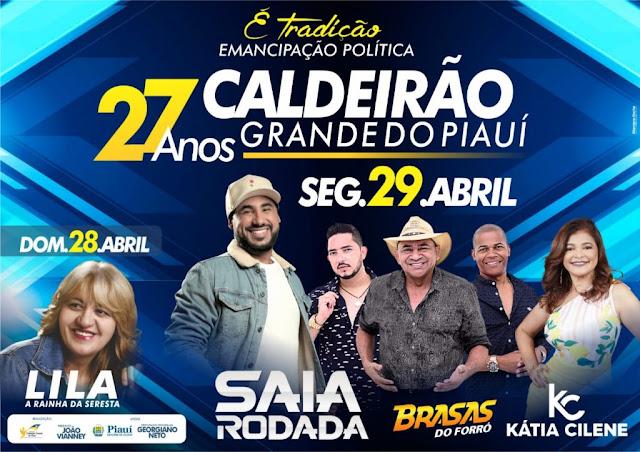 CALDEIRÃO GRANDE PI-Prefeito Vianney anuncia atrações artísticas do aniversário de Caldeirão Grande do Piauí