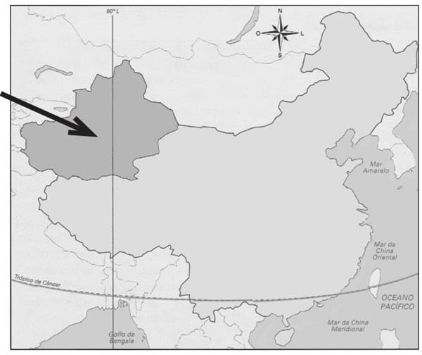 (PUC-RS) Observe o mapa e analise as afirmativas referentes à região indicada