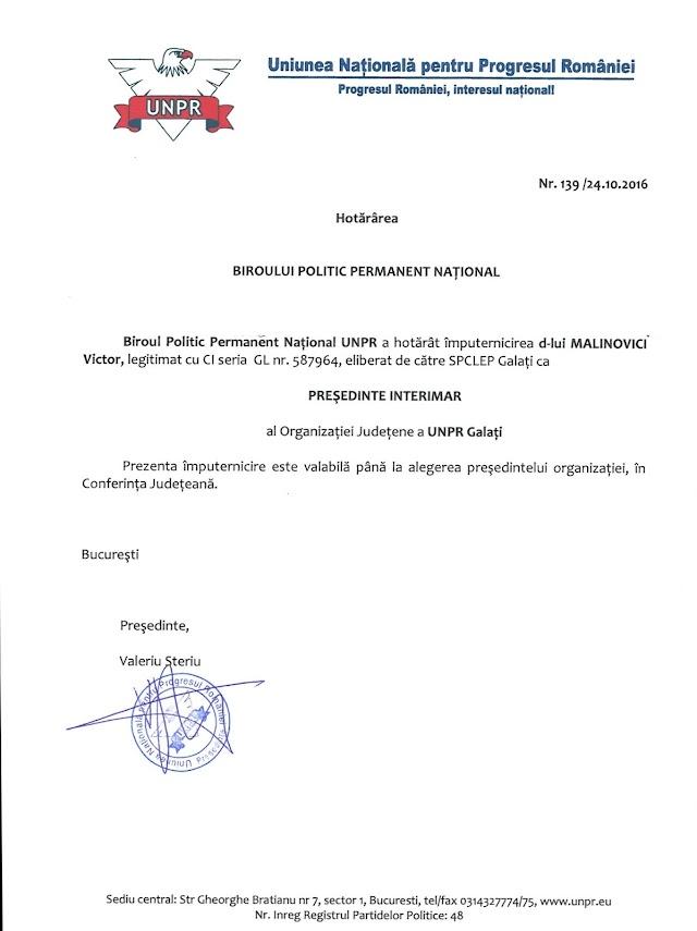 Domnul Victor Malinovici a fost numit în funcția de președinte al UNPR Galati