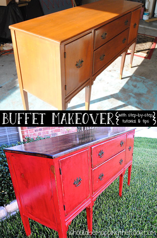 Buffet Reveal: Distressing Painted Furniture with Stain | i ...