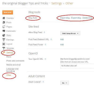 Blogger Dashboard Settings Other Delete blog