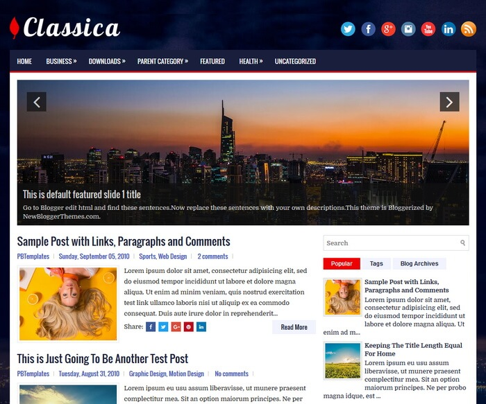 columns blogger subject amongst a correct sidebar in addition to  Free Download Classica Blogger Template