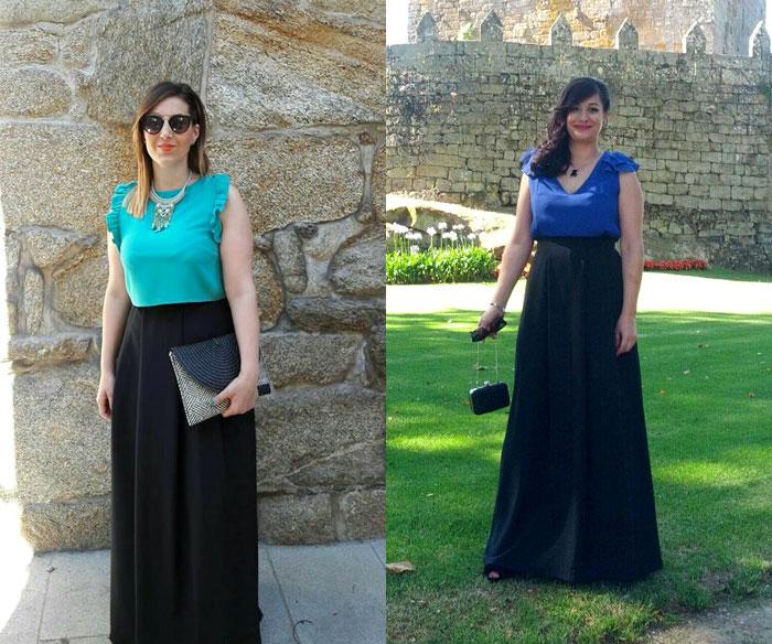 invitada perfecta boda falda negra larga crop top