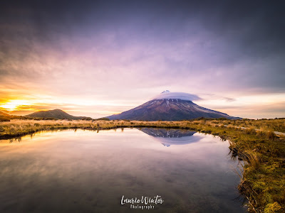 New Zealand, NZ, Taranaki, Mt Taranaki, Sunrise, New Plymouth, Pouakai Crossing, Pouakai Tarn