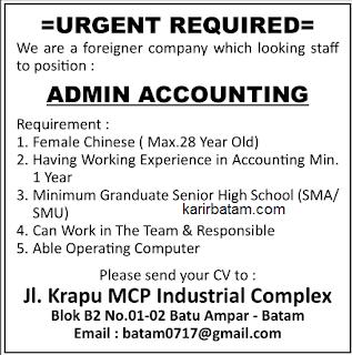 Lowongan Kerja Admin Accounting MCP Industrial Complex