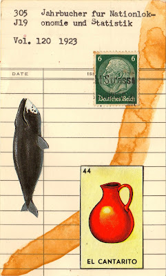 Dada Fluxus mail art collage library due date card sartre loteria whale el cantarito jug German Wiemar postage stamp