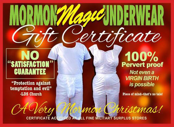 Funny Mormon Magic Underwear Gift Certificate Picture