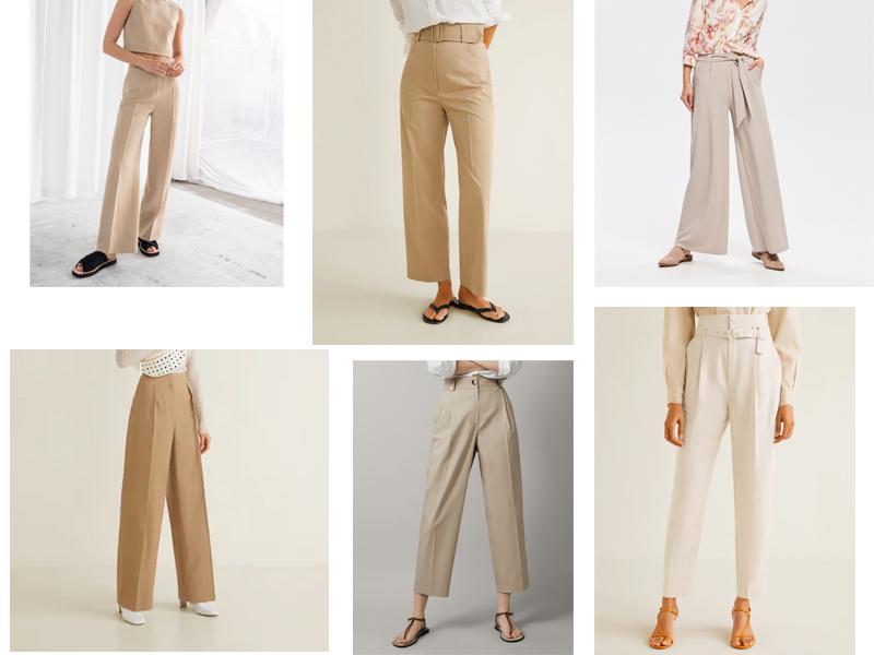 szerokie spodnie palazzo beż wysoki stan blog
