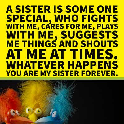 A sister is some one special, who fights with me, cares for me, plays with me, suggests me things and shouts at me at times. Whatever happens you are my sister forever.