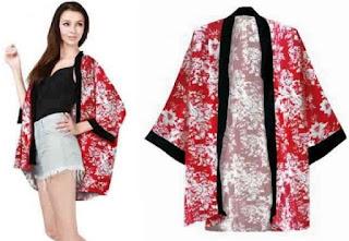 Cardigan kimono ala china motif batik kombinasi cantik