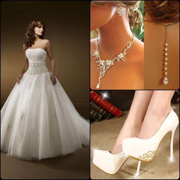 Vestidos de Novia Elegante y Moderno, Aretes y Zapatos