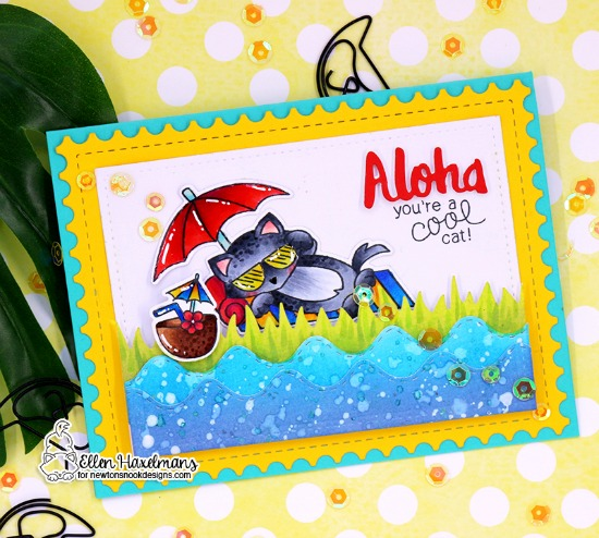 Aloha Cards by Ellen Haxelmans | Aloha Newton and Newton's Summer Vacation Stamp and Die Sets by Newton's Nook Designs #newtonsnook #handmade