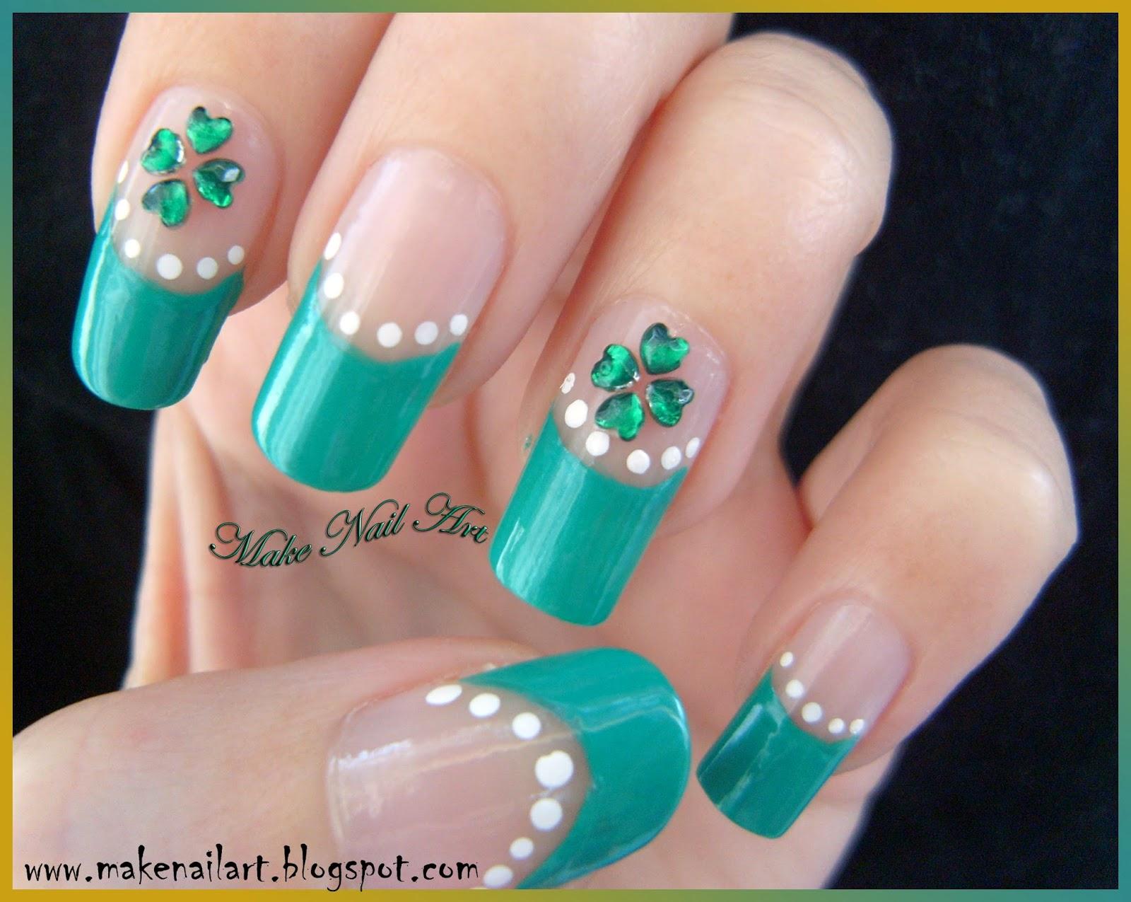 Make Nail Art St Patricks Day Four Leaf Clover Nail Art Tutorial
