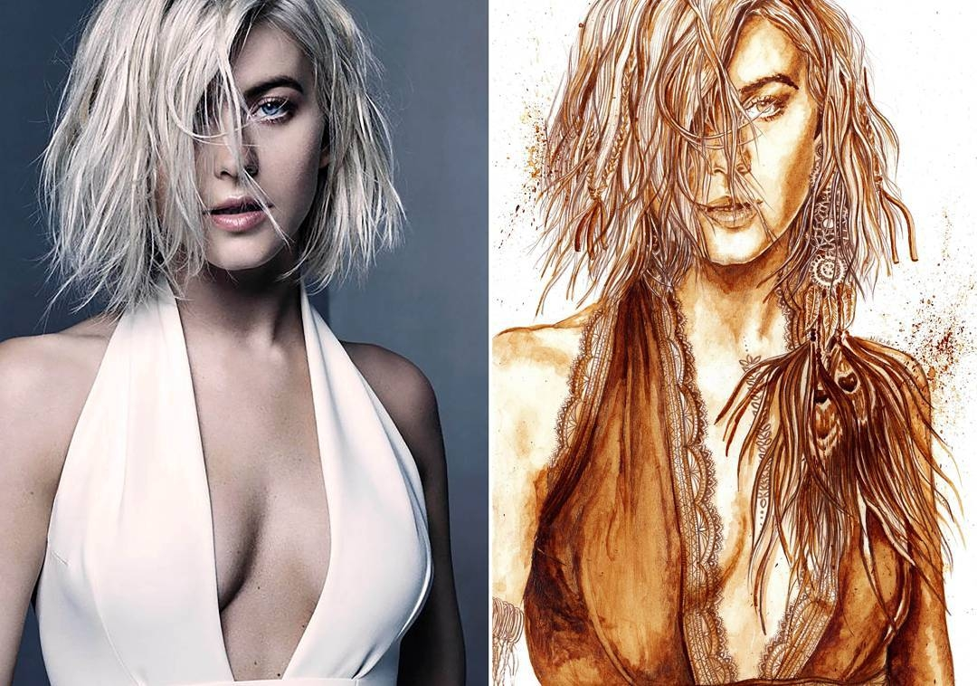 05-Julianne-Hough-Nuria-Salcedo-nuriamarq-Celebrities-and-Animated-Movies-Painted-with-Coffee-and-Brown-Pencil-www-designstack-co