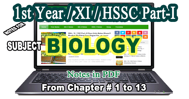 Free Download FSc HSSC Part-I 1st Year XI Biology Notes All Chapters
